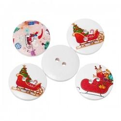 5 Boutons de Noël traineaux 2 cm, 2 trous,