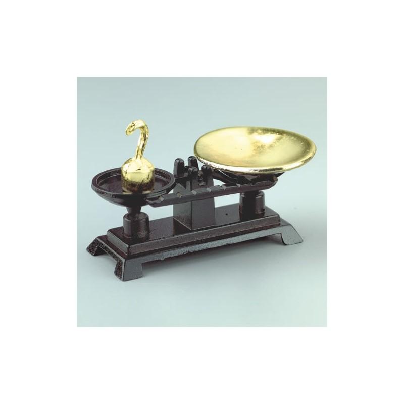 balance miniature métal noir et or
