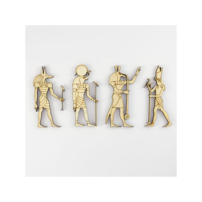 Un lot de 4 dieux gyptiens en bois anubis seth hor et for Decoration egyptienne murale