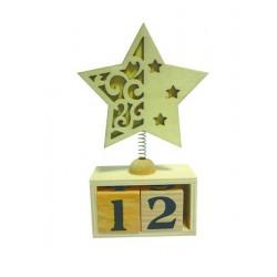 Calendrier perpétuel avec étoile en bois à décorer