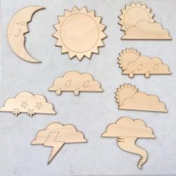 Pack météo soleil et nuages... en bois