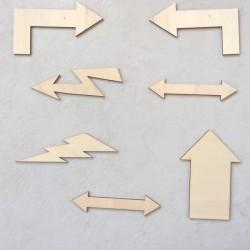 Pack 7 symboles flèches en bois support à décorer ou pas pour loisir créatif