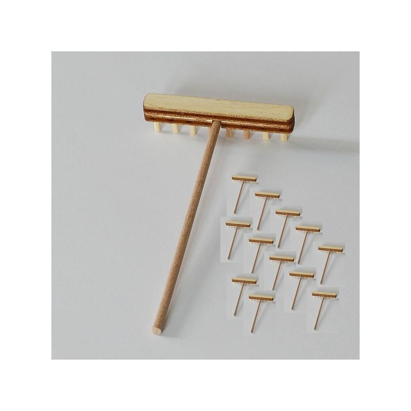 10 rateaux miniature en bois fabrication française, pour jardin zen, loisir créatif, décor de table, personnages...