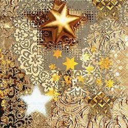Serviette papier Noël tons or étoile