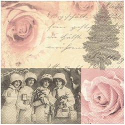 Serviette papier romantique four ladies