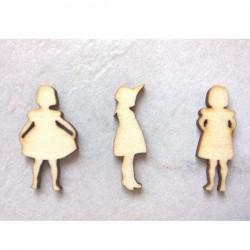 Pack de 3 Petites filles en bois