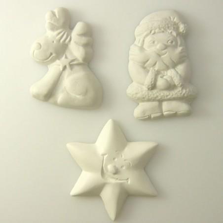 3 sujets de Noël en platre - série 3