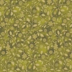 Tissu coton Noël  arabesques dorée fond vert 55 x 50 cm
