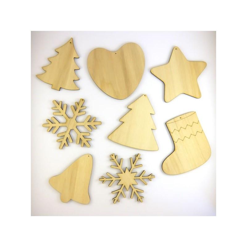 Pack suspension n°5 : 8 objets de Noël en bois