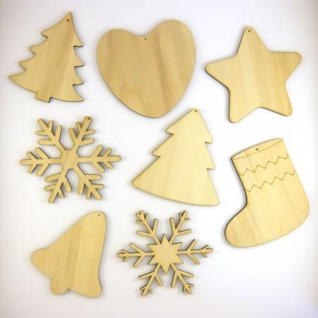 Déco de Noël Pack suspension n°5 : 8 objets de Noël en bois