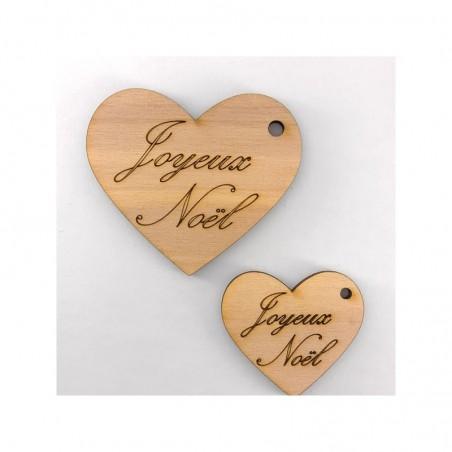 Coeur en bois gravés Joyeux Noël
