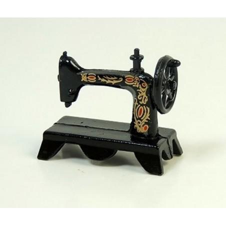 machine à coudre métal noir et décor fleuri