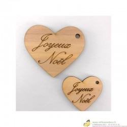 Coeur en bois gravés Joyeux Noël plusieurs tailles création artisanale française