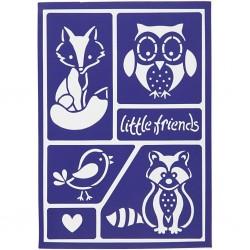 Pochoir Petits amis de la forêt adhésif et réutilisable renard, hibou, oiseau raton laveur, coeur et mots little Friends