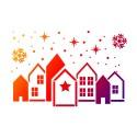 Grand pochoir flexible ville ou village d'hiver, A3 Noël féérique