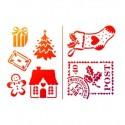 pochoir petits motifs de Noël Chaque motif peut être découpé séparément Sapin, botte, maison, fleur,bonhomme pain d'épices