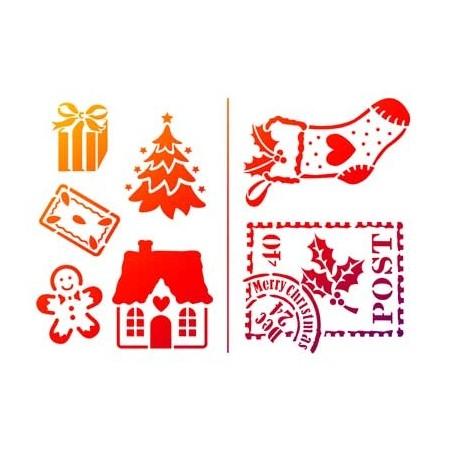 pochoir petits motifs de Noël