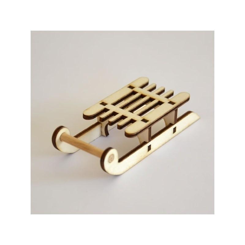 Luge miniature 3D en bois à monter