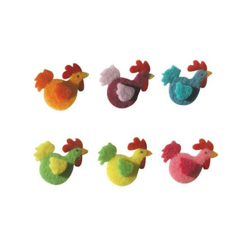 6 coqs en feutrine