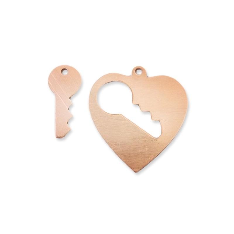 Pendentif coeur et clef cuivre à  émailler