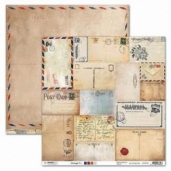 Papier Design vintage 30,5 x 30,5 cartes postales, tampon, cachet de cire, manuscrit studio light
