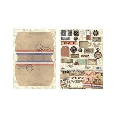 Boite cadeau à monter décor vintage air mail cadenas, montre timbre et autre studio light