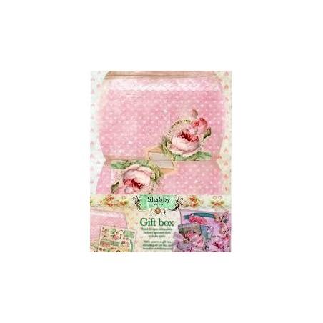 Boite cadeau à monter décor shabby chic romantique rose studio light