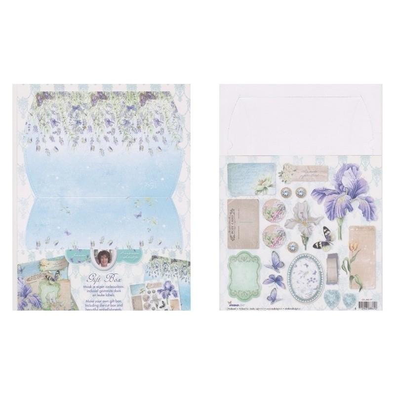 Boite cadeau à monter décor romantique bleu délicat studio light