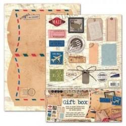 Boite cadeau à monter décor vintage air mail avion timbre et autre studio light