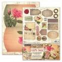 Boite cadeau à monter décor vintage rose carte postale coeur studio light
