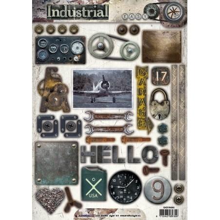 papier design industrial prédécoupé mécanique compteur poulies outils studio light