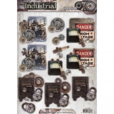 papier design industrial prédécoupé coffre fort outils cadenas studio light