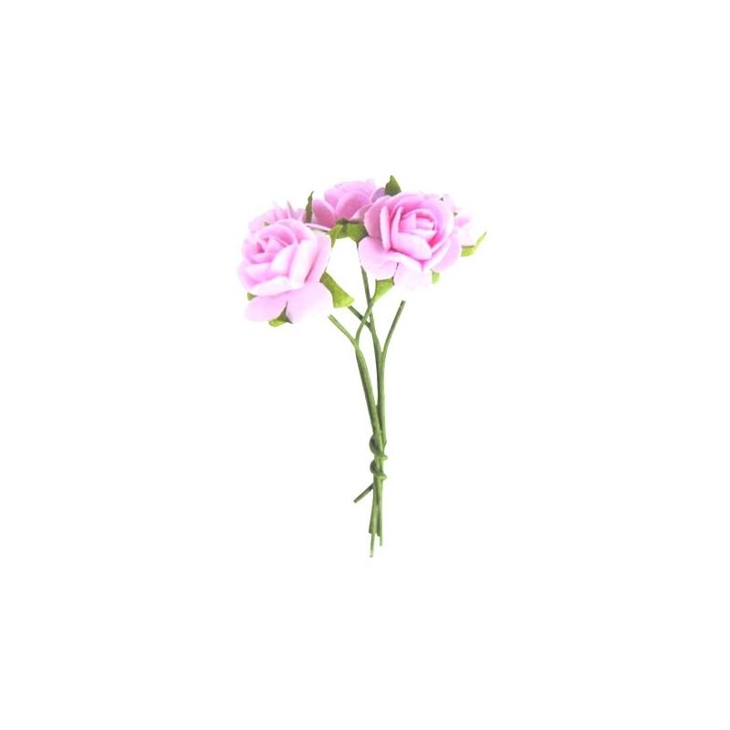 5 mini roses couleur rose