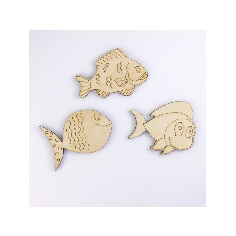 Pack de 3 poissons d'avril en bois