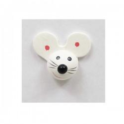 Tête de souris en bois décoré