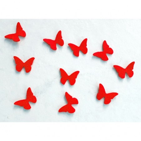 10 papillons feutrine rouge loisir créatif