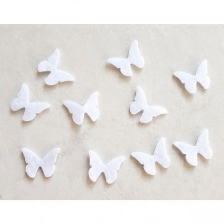 10 papillons feutrine blanc loisir créatif