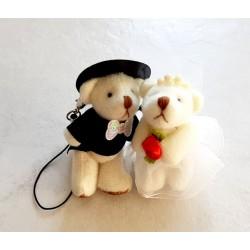 Couple ours mariés peluche miniature