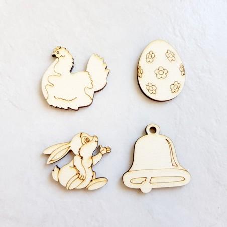 Cloche, poule, lapin et oeuf de Pâques en bois - lot numero 7
