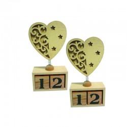 lot de 2 Calendriers perpétuels avec coeur en bois à décorer