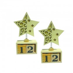 Lot de 2 Calendriers perpétuel avec étoile en bois à décorer