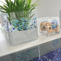 Peinture Vernis 3D pailleté argent (silver) pour verre papier bois metal plastique lavable à l'eau