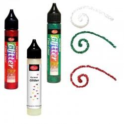 3 Peintures sous forme de stylo or, argent, rouge Vernis 3D pailleté  tous supports décor Noël ou fête effaçable à l'eau
