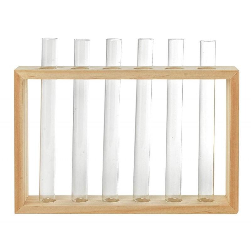 6 vases soliflores façon tube à essai dans un support cadre bois