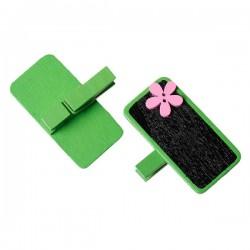 6 marque place ou porte-photo, décor vert fleur rose et ardoise noire, avec pince à linge en bois pour écrire nom ou message