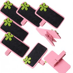 6 marque place ou porte-photo, décor rose fleur verte et ardoise noire, avec pince à linge en bois
