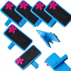 6 marque place ou porte-photo, décor bleu fleur rose et ardoise noire, avec pince à linge en bois