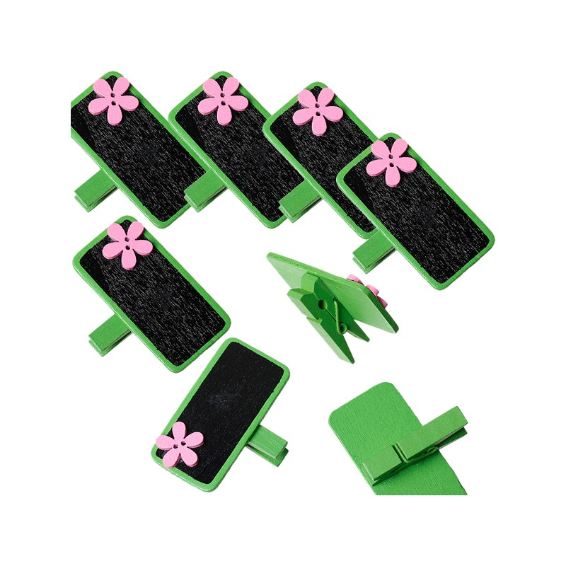 6 marque place ou porte-photo, décor vert fleur rose et ardoise noire, avec pince à linge en bois