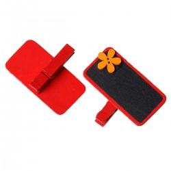 6 marque place ou porte-photo, décor rouge fleur orange et ardoise noire, avec pince à linge en bois pour  écrire nom ou message