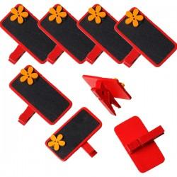 6 marque place ou porte-photo, décor rouge fleur orange et ardoise noire, avec pince à linge en bois